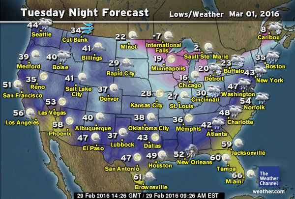 National Weather From 2/29/2016 - 3/6/2016