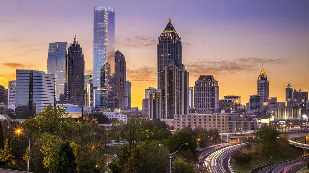 See the Atlanta, Georgia skyline at dusk