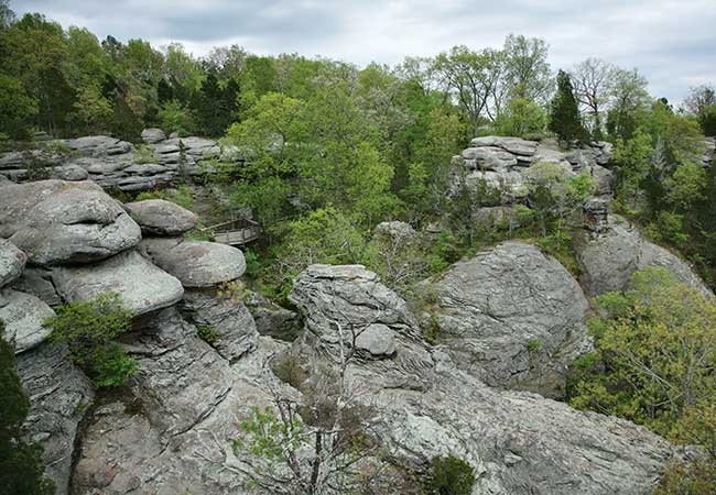 Near the Southern tip of Illinois you'll find the Shawnee National Forest.