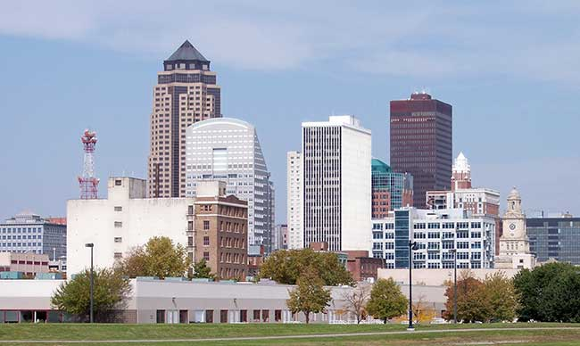 Check out the skyline of Des Moines the next time you drive through Iowa.