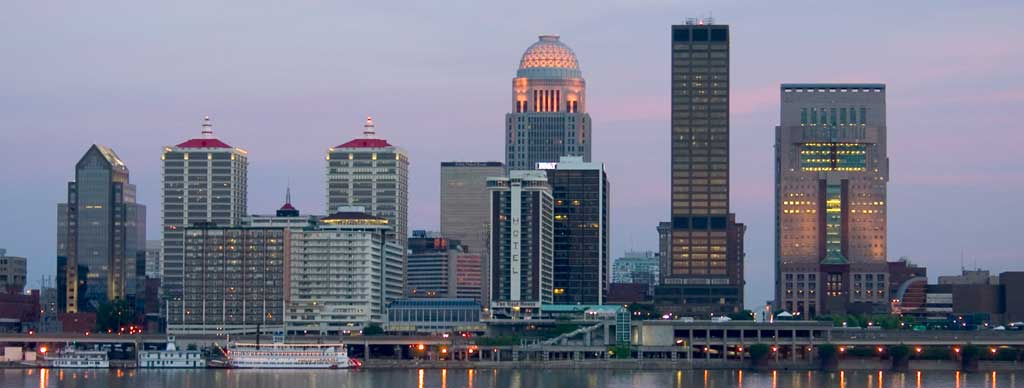 Be sure to see the Louisville skyline when you drive through Kentucky.
