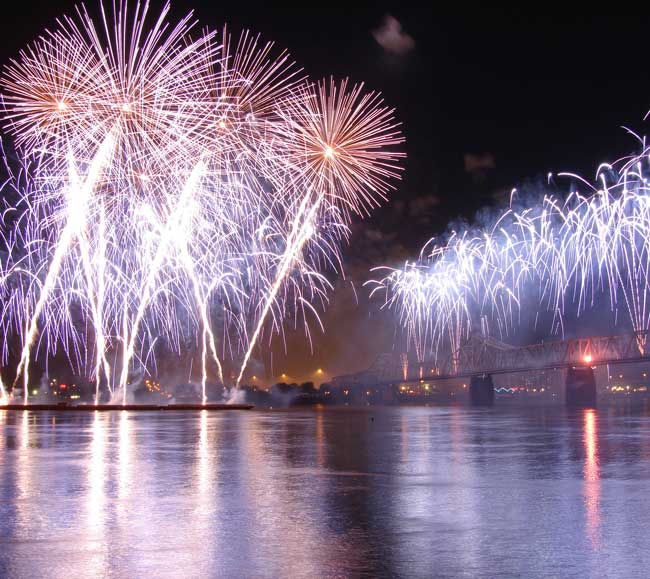 Check out the Thunder over Louisville fireworks event, one of the largest fireworks event in the world.