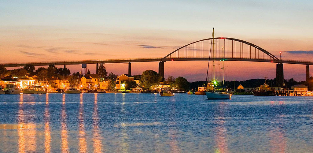 View of Chesapeake City Bridge at sunset when crossing the Chesapeake and Delaware Canal in Maryland