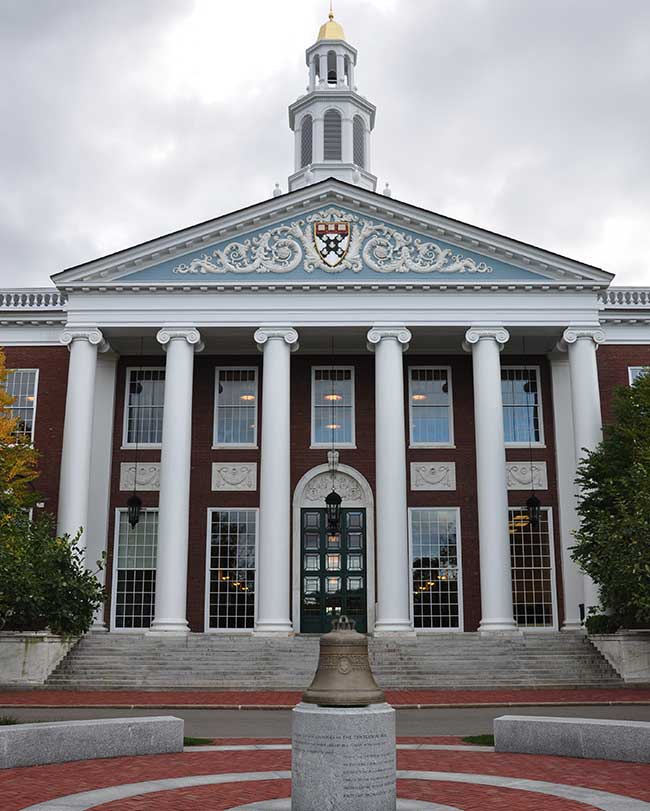 Visit the Baker Library as you take a stroll through the campus of Harvard University in Massachusetts.