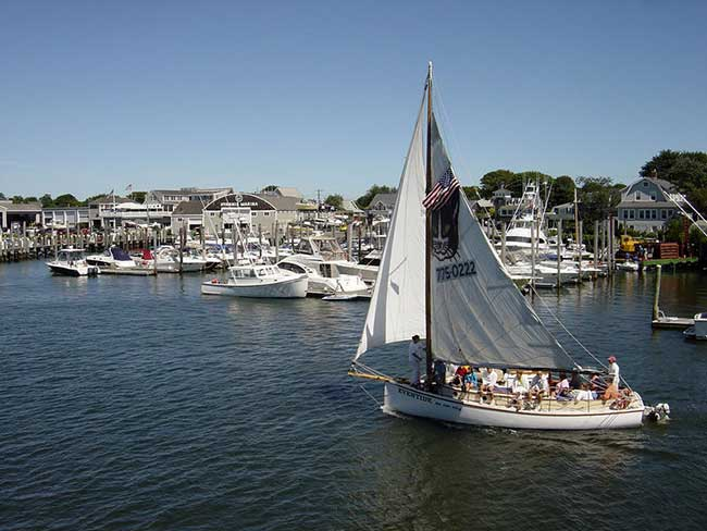 Be sure to visit the quaint Hyannis Harbor in Cape Cod when you are in Massachusetts.