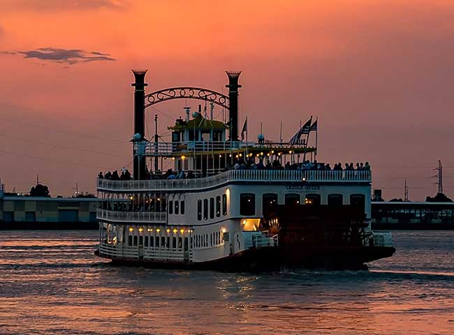 Check out the steamboats that still pass by along the Mississippi River.