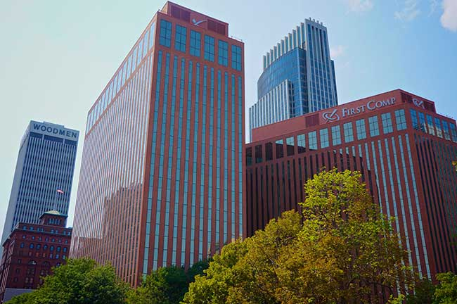 Omaha in Nebraska has a vibrant corporate center.