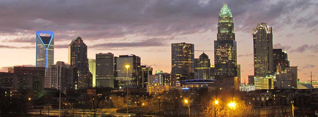 Check out the Charlotte skyline when you visit North Carolina.