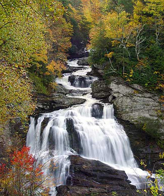 See the magestic Cullasaja Falls when visiting North Carolina.