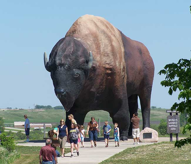 Check out the Buffalo Monument of Jamestown, North Dakota.