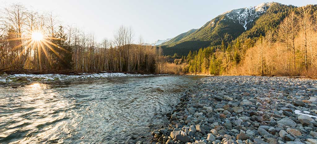 Visit Washington's many scenic natural wilderness places such as Middle Fork Snoqualmie River when you're traveling through the state.