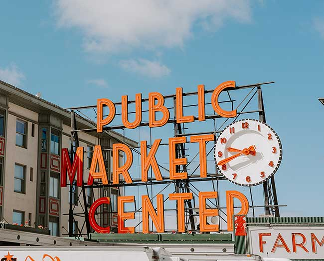 Be sure to check out the Public Market Center in Seattle, Washington where you can get fresh fish.